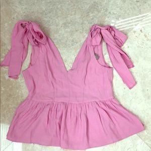 Asos pink bow babydoll top US 4
